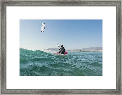Kitesurfing Tarifa Cadiz Andalusia Spain Framed Print