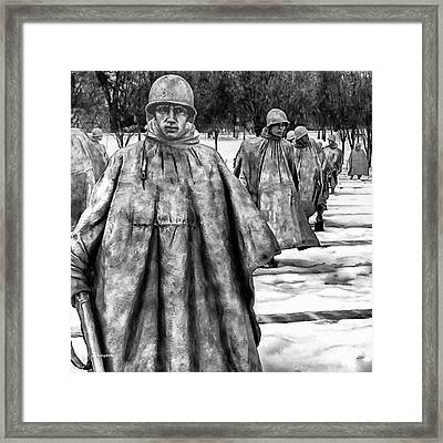 Korean War Memorial Washington Dc Framed Print by Bob and Nadine Johnston