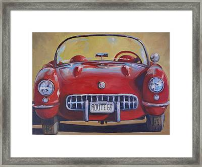 Lady In Red Framed Print by Kelley Smith