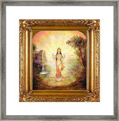 Lakshmi With The Waterfall Framed Print