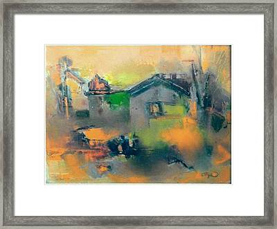 Landscape In Yellow Framed Print by Pemaro