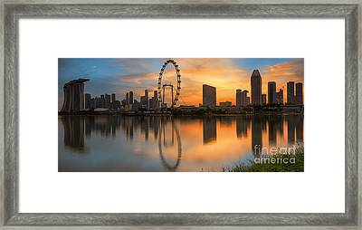 Landscape Of Singapore  Framed Print by Anek Suwannaphoom