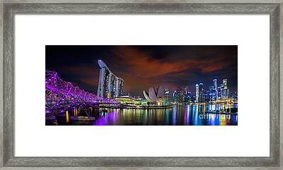 Landscape Of Singapore City Framed Print by Anek Suwannaphoom
