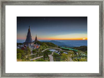 Landscape Of Two Pagoda At Doi Inthanon Framed Print
