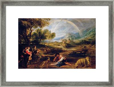 Landscape With A Rainbow Framed Print by Peter Paul Rubens