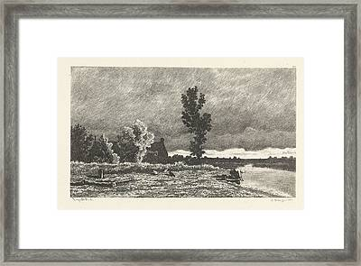 Landscape With A Woman Who Does The Laundry Framed Print by Alexander Mollinger