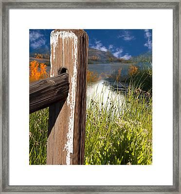 Landscape With Fence Pole Framed Print