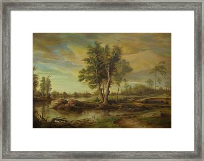 Landscape With Pine Trees Framed Print by Dan Scurtu