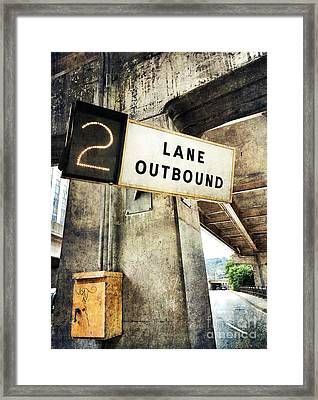 2 Lane Outbound Traffic Sign Framed Print by Amy Cicconi
