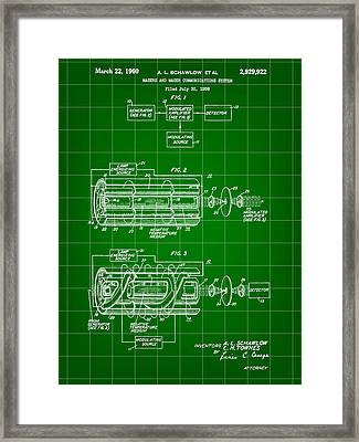 Laser Patent 1958 - Green Framed Print by Stephen Younts
