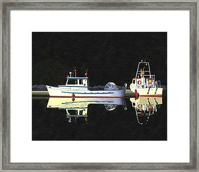 Last Light  Island Moorage Framed Print