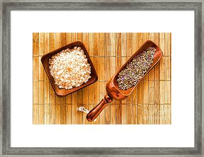 Lavender Seeds And Bath Salts Framed Print by Olivier Le Queinec
