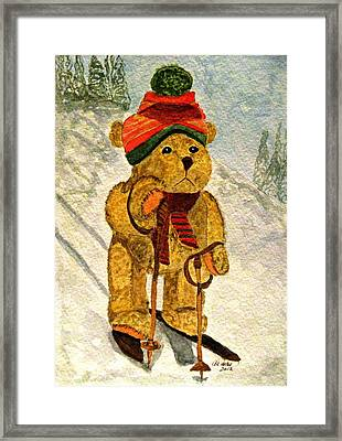 Learning To Ski Framed Print