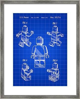 Lego Figure Patent 1979 - Blue Framed Print