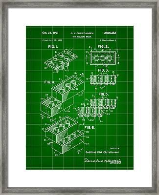 Lego Patent 1958 - Green Framed Print