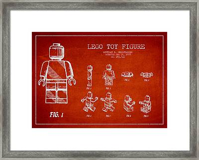 Lego Toy Figure Patent Drawing Framed Print by Aged Pixel