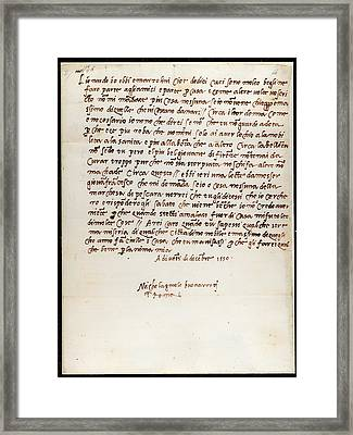 Letter Of Michelangelo Framed Print