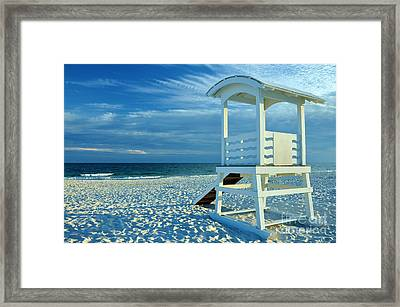 Lifeguard Hut On Beach Framed Print