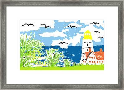 Lighthouse By The Sea Framed Print by Joe Dillon