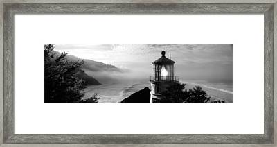 Lighthouse On A Hill, Heceta Head Framed Print
