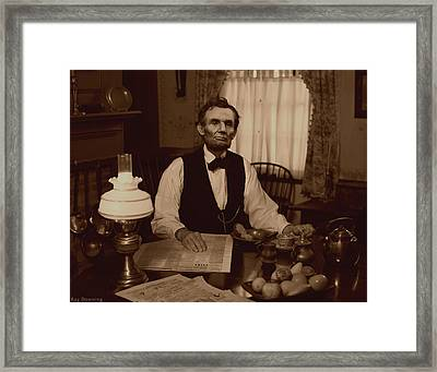 Lincoln At Breakfast Framed Print by Ray Downing