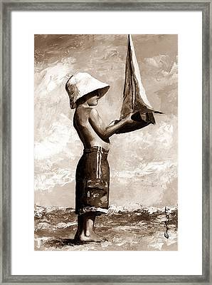 Little Boy In The Beach Framed Print by Emerico Imre Toth