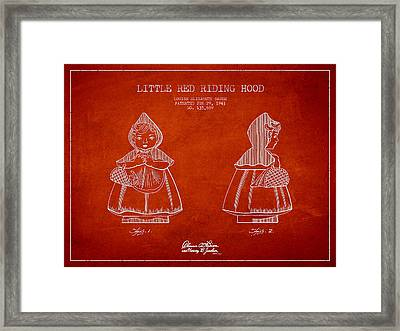 Little Red Riding Hood Patent Drawing From 1943 Framed Print