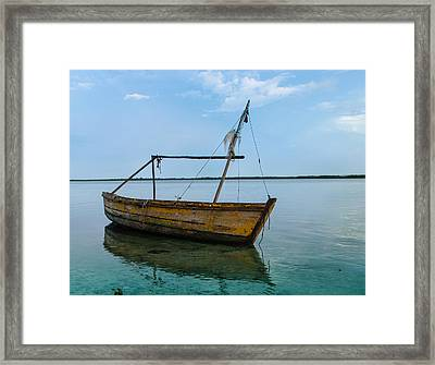 Lonely Boat Framed Print by Jean Noren