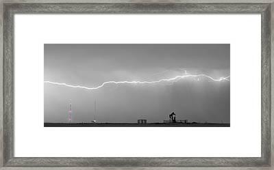 Long Lightning Bolt Strike Across Oil Well Country Sky Framed Print