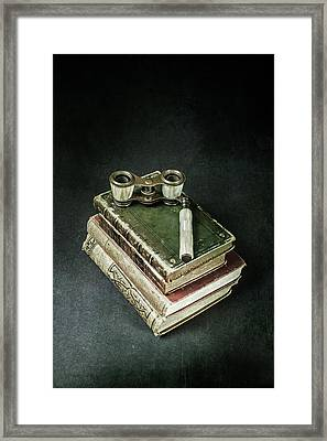 Lorgnette With Books Framed Print