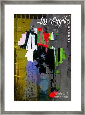 Los Angeles Map Watercolor Framed Print