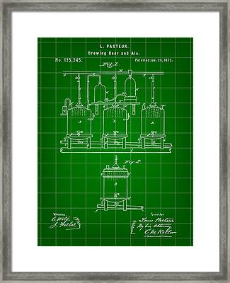 Louis Pasteur Beer Brewing Patent 1873 - Green Framed Print by Stephen Younts