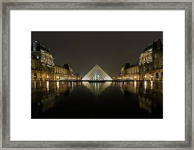 Louvre Pyramid And Pavillon Richelieu Framed Print by Rostislav Bychkov