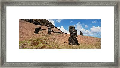 Low Angle View Of Moai Statues, Tahai Framed Print