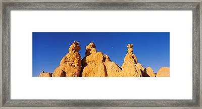 Low Angle View Of Rock Formations Framed Print