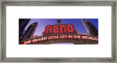 Low Angle View Of The Reno Arch Framed Print by Panoramic Images