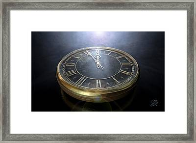 Macro Antique Watch Midnight Framed Print by Allan Swart