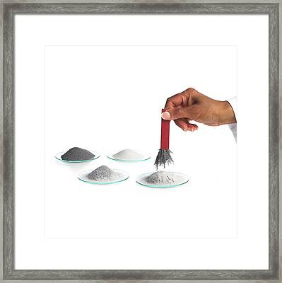Magnetic Extraction Of Iron Filings Framed Print by Science Photo Library