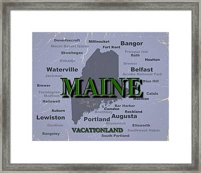 Maine State Pride Map Silhouette  Framed Print by Keith Webber Jr