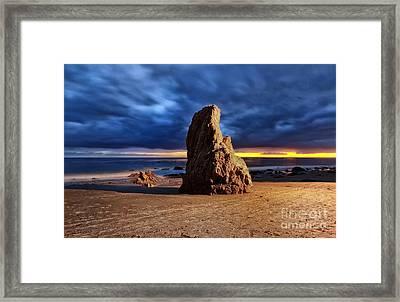 Malibu Beach Rock Framed Print by Charline Xia