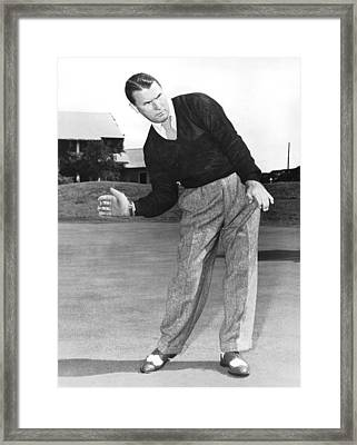 Man Posing With Sports Gear Framed Print by Underwood Archives