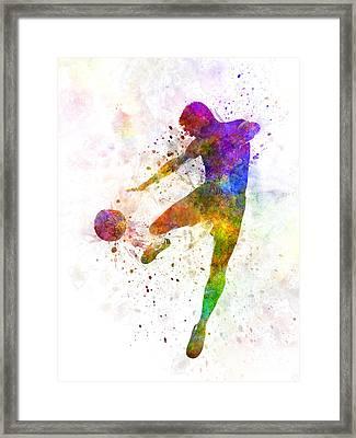 Man Soccer Football Player Flying Kicking Framed Print by Pablo Romero