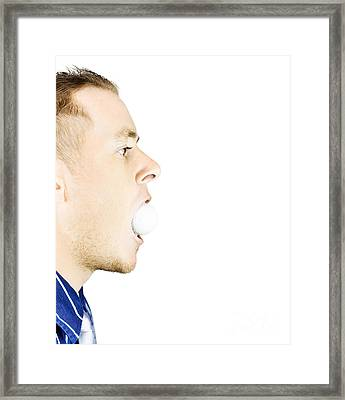 Man With Golf Ball In Mouth Framed Print by Jorgo Photography - Wall Art Gallery