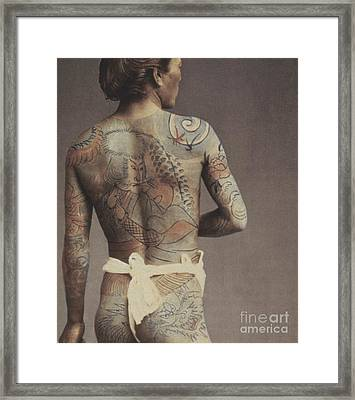Man With Traditional Japanese Irezumi Tattoo Framed Print