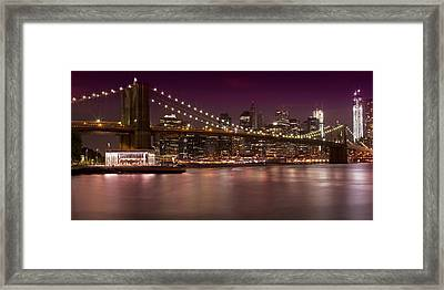 Manhattan By Night Framed Print by Melanie Viola