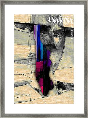 Manhattan Map Watercolor Framed Print by Marvin Blaine