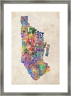 Manhattan New York Typographic Map Framed Print