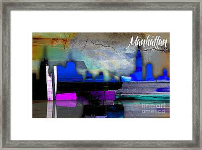 Manhattan Skyline Watercolor Framed Print