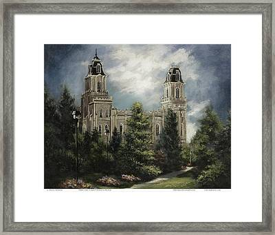 Manti Utah Temple-pathway To Heaven Pastel Framed Print