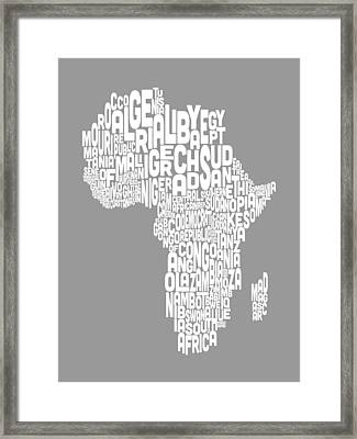 Map Of Africa Map Text Art Framed Print by Michael Tompsett